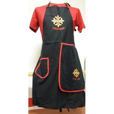 Tablier cuisine noir croix occitane avec torchon éponge