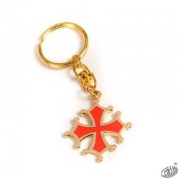 Porte-clés croix occitane découpée dorée