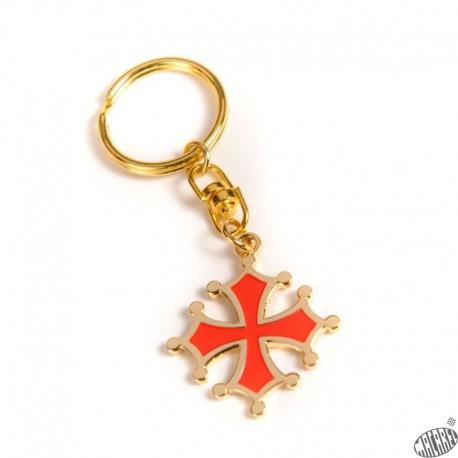Porte-cles croix occitane découpée dorée