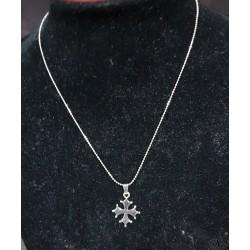 collier et pendentif croix occitane métal argenté