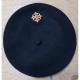 Béret occitanie noir croix occitane brodée : face