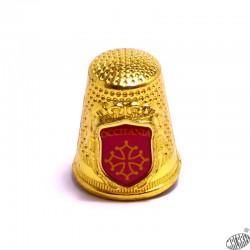 Dé à coudre métal décor croix occitane