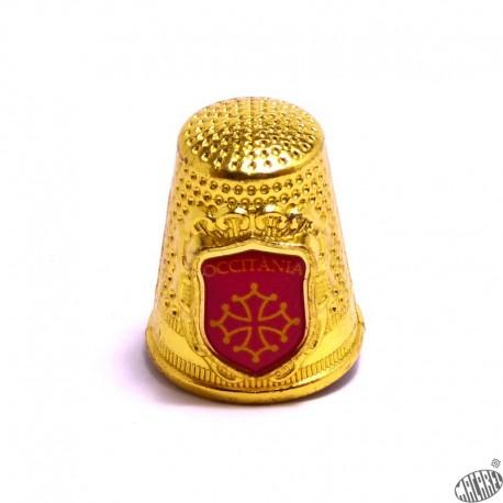 Dé métal décor croix occitane