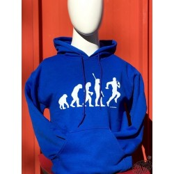 Sweat à capuche humoristique Evolution bleu rugby