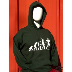 Sweat à capuche humoristique Evolution vert rugby