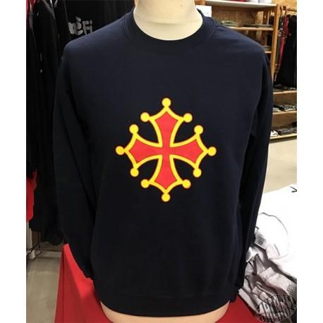 Sweat sans capuche croix occitane bleu marine