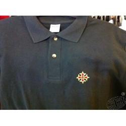 Polo coton brodé noir Croix Occitane