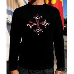 T-shirt homme noir à manches longues croix occitane tribale