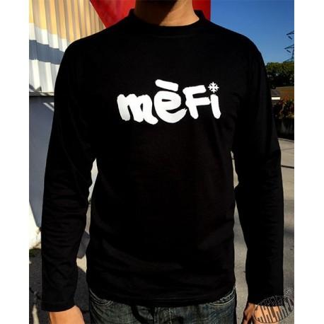 T-shirt homme noir à manches longues Mèfi occitan