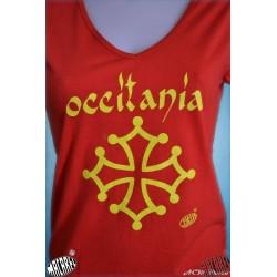 T-shirt femme rouge croix occitane classique