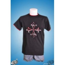T-shirt enfant noir croix occitane tribale