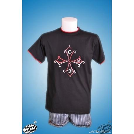 Tshirt enfant Tribal noir croix occitane