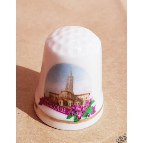 Dé à coudre en porcelaine Toulouse St-Sernin Violette