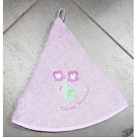 Essuie-mains éponge rond violet Violette de Toulouse