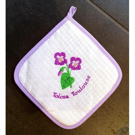 Manique coton décor violettes de Toulouse