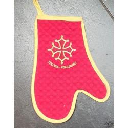 gant de cuisine rouge croix occitane et Toulouse