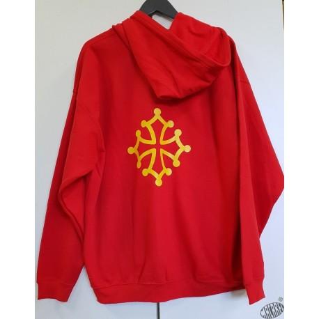 Sweat rouge capuche et zip croix occitane