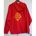 Sweat rouge capuche et zip croix occitane