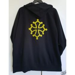 Sweat à capuche et zip marine ou noir à croix occitane jaune
