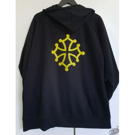 Sweat à capuche et zip bleu marine à croix occitane jaune
