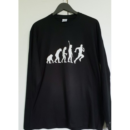 T-shirt homme noir manches longues Evolution Rugby