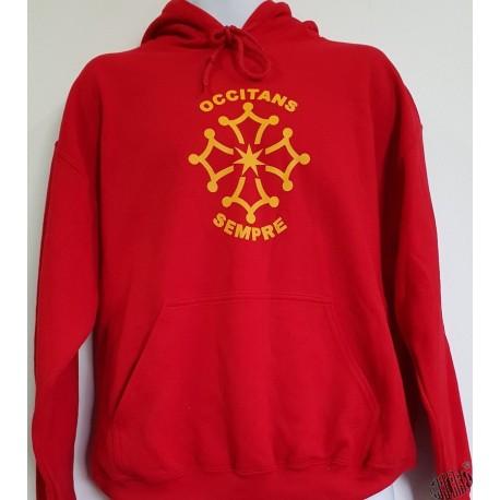 Sweat rouge au couleur de l'occitanie capuche Occitans sempre croix occitane
