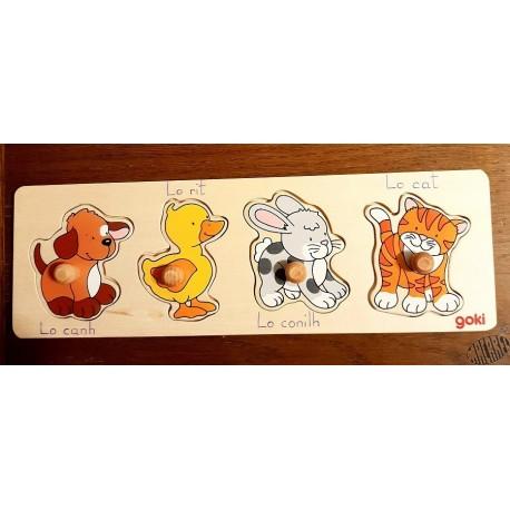 puzzle en occitan 4 pièces chien,canard