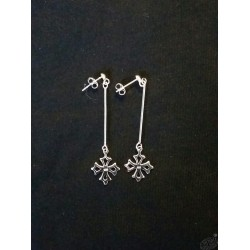 Boucles d'oreilles argent croix occitane sur tige