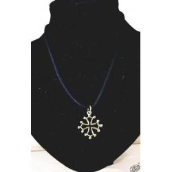 Collier et pendentif croix occitane dorée 2,5cm