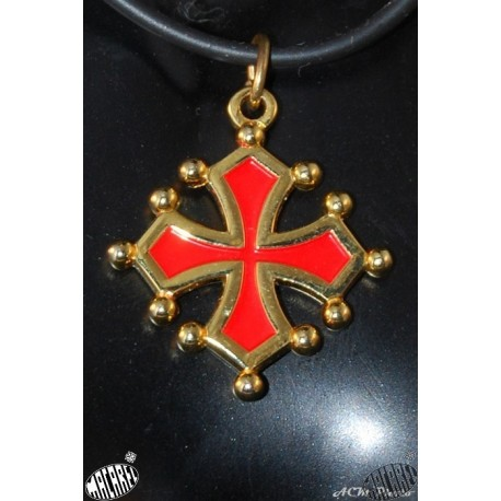 collier et pendentif croix occitane sang et or 2,5cm