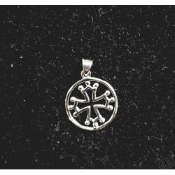 pendentif argent massif croix occitane cerclée petit modèle