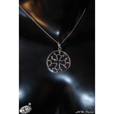 pendentif argent massif croix occitane cerclée grand modèle