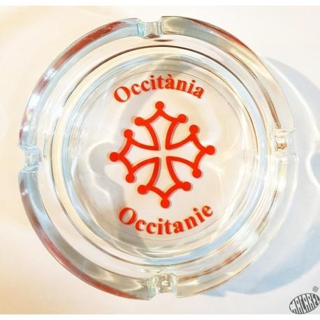 cendrier verre Occitània et croix occitane