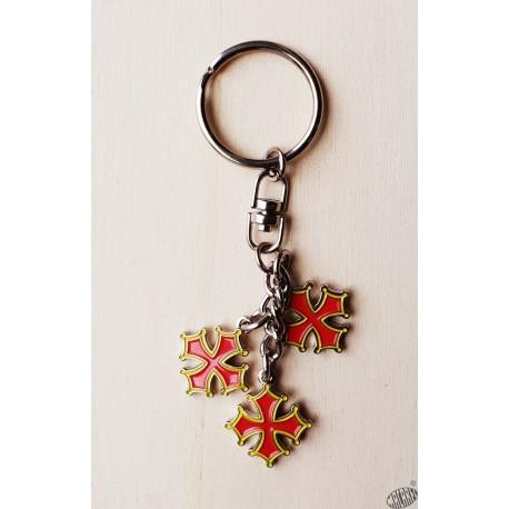 porte-clés chaînette 3 croix occitanes