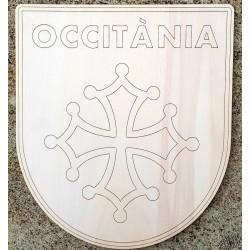 Plaque bois blason bois croix occitane et Occitània