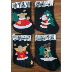 petite botte Noël  feutrine fond noir 4 motifs