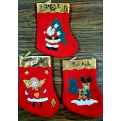 petite botte Noël rouge 3 motifs