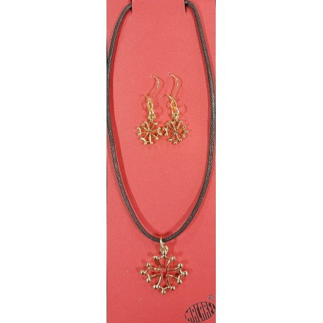 Parure boucles d'oreilles et collier croix occitane dorées
