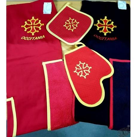 Lot Tablier rouge ou noir + Gant et Manique et torchon rond croix accitane