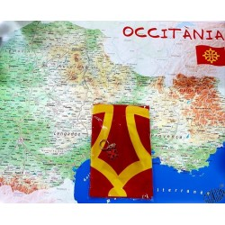 lot carte Occitanie +drapeau occitan+ porte-clés croix occitane