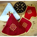 lot essuie-mains rond croix + gant + manique + dessous-de-plat croix occitane