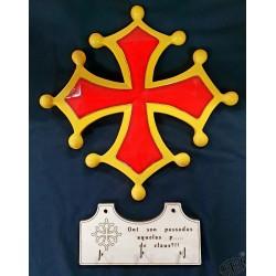 ensemble croix occitane résine + accroche-clés bois