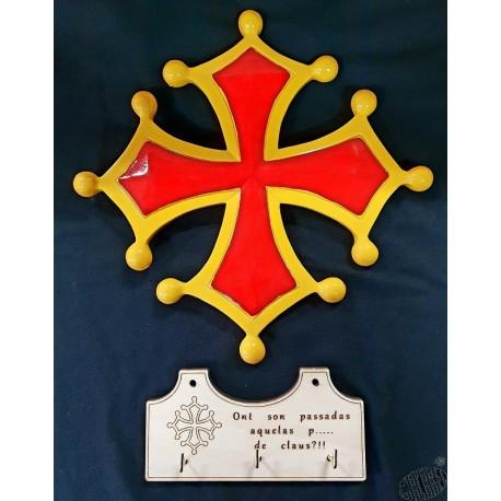 ensemble croix occitane résine + accroche-clés ou accroche-torchons