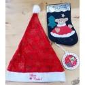 ensemble déco Bon Nadal  bonnet Père Noël + botte + sujet à accrocher