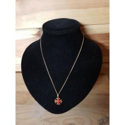 chaîne et pendentif croix occitane sang et or 1,5cm