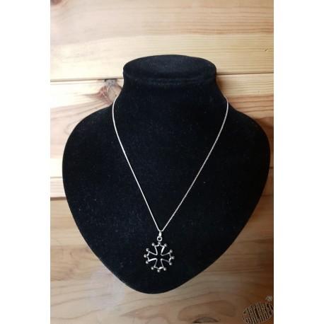 chaîne et pendentif croix occitane 2,2cm métal argenté