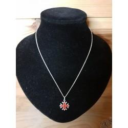 chaîne et pendentif 1,5cm argenté et rouge