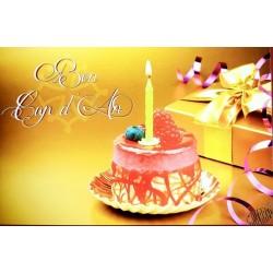 carte anniversaire en occitan Bon cap d'an gâteau & bougie
