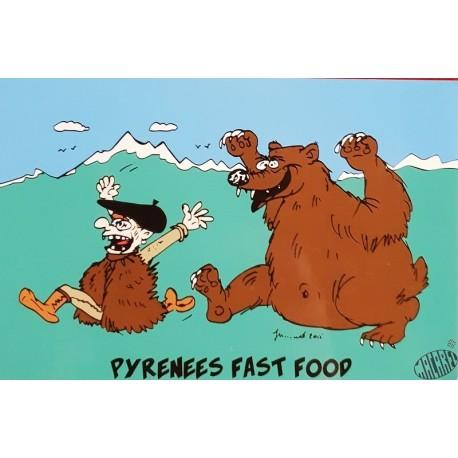 carte humour occitan Pyrénées fast food