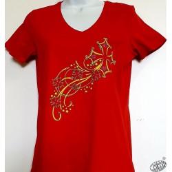 T-shirt Femme Etoile filante croix occitane coloris rouge, col V